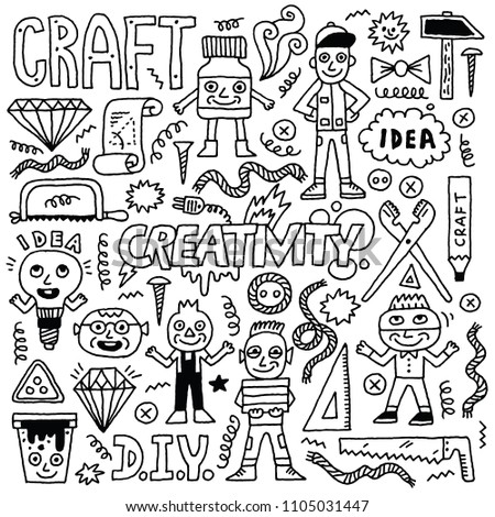 Do yourself creativity funny idea doodle stock vector 1105031447 do it yourself creativity funny idea doodle set black and white drawing vector solutioingenieria Image collections