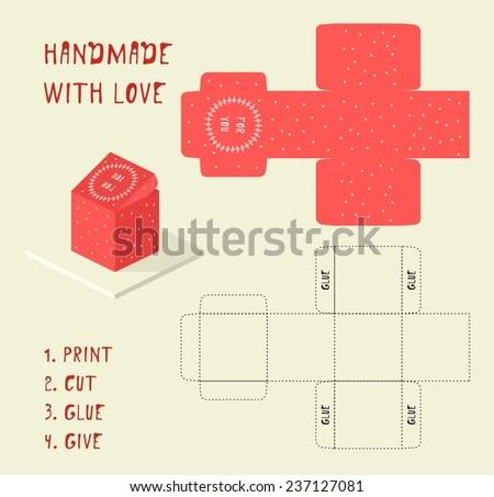 Do yourself vector christmas gift box stock vector 237127081 do it yourself vector christmas gift box template handmade with love solutioingenieria Images