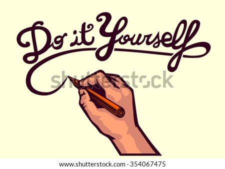 Do it yourself stock images royalty free images vectors do it yourself vector writing hand holding marker and writing typographic art text hand solutioingenieria Image collections
