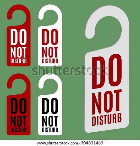 Do not disturb door hanger in four variations - stock vector