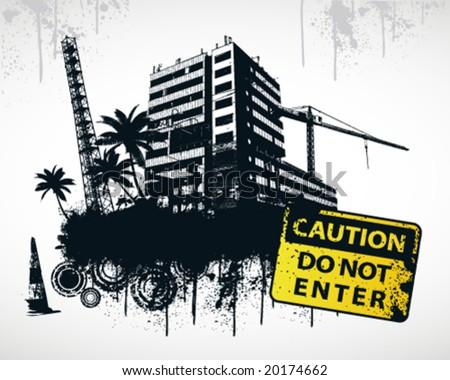 Do Not Enter Sign City - stock vector