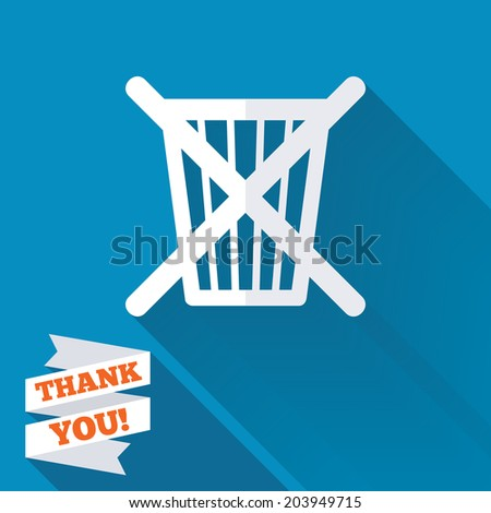 Do not throw in trash. Recycle bin sign icon. White flat icon with long shadow. Paper ribbon label with Thank you text. Vector
