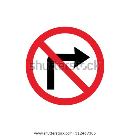 Do not turn sign - vector icon