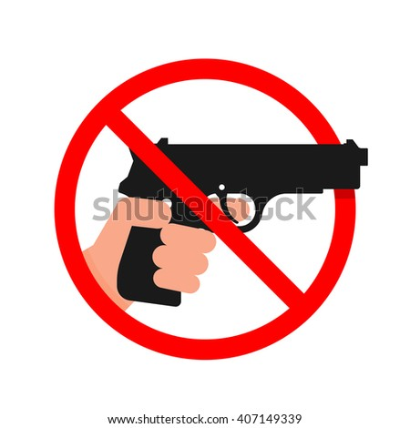 Do not use Guns or Weapons Sign. - stock vector