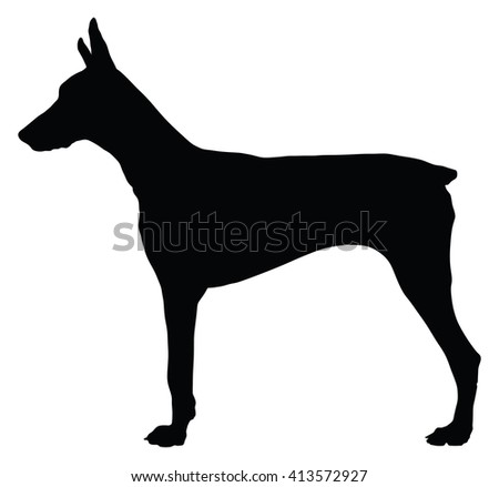 doberman pinscher dog flat icon isolated on white background vector silhouette illustration