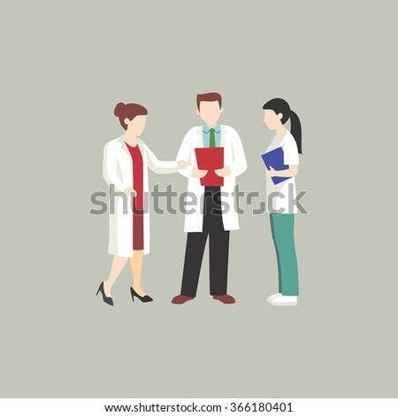 doctor and assistant discussing. hospital and medical care character design. doctor and healthcare concept - vector illustration. - stock vector