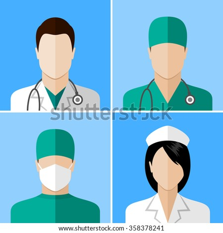 Doctor and nurse icons. Flat style design collection