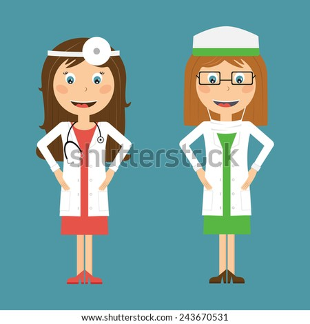 Doctor and Nurse in flat design. Vector illustration of a smiling doctors - stock vector