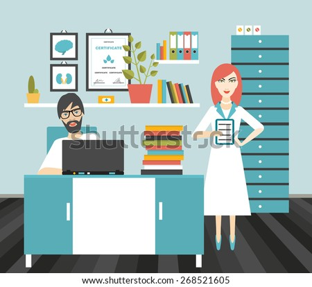 Doctor and nurse office workplace. Flat vector illustration.  - stock vector