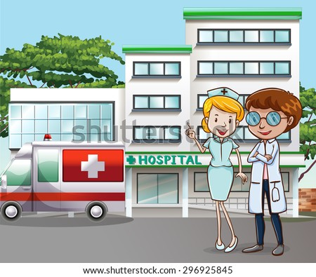 Doctor and nurse standing in front of the hospital - stock vector