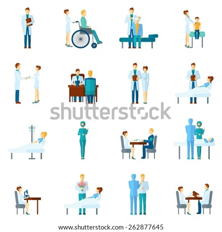 Doctor and nurses characters set hospital and clinic professional staff in uniform isolated vector illustration - stock vector