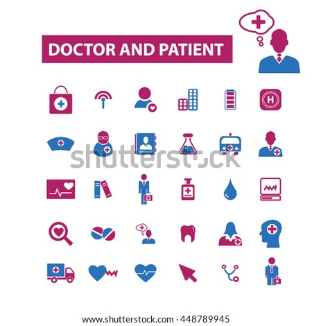 doctor and patient icons - stock vector