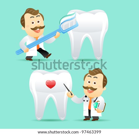 Doctor and Teeth - stock vector