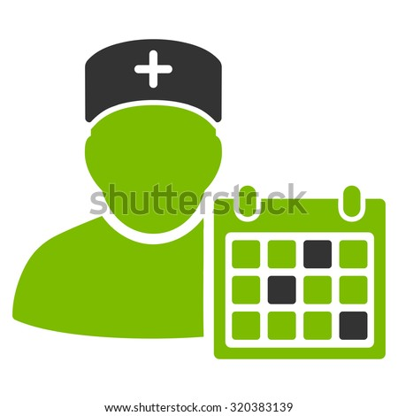Doctor Calendar vector icon. Style is bicolor flat symbol, eco green and gray colors, rounded angles, white background. - stock vector