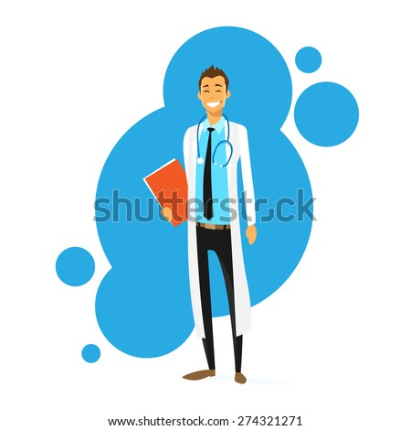 Doctor Cartoon Smile Man Icon Flat Vector Illustration - stock vector