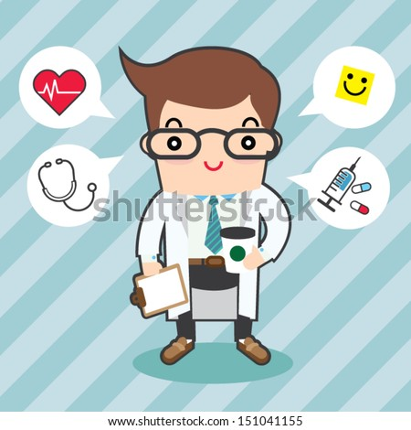 doctor character - stock vector