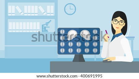 Doctor checking MRI results. - stock vector