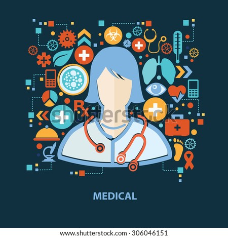 Doctor concept design on dark background,clean vector