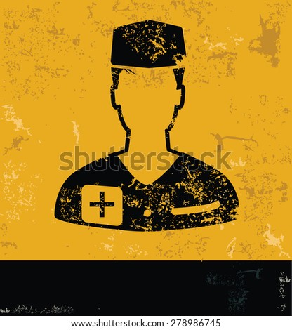 Doctor design,medical concept on yellow grunge background,vector - stock vector