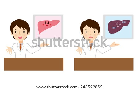 Doctor for a description of the liver - stock vector