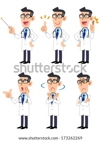 Doctor. Gesture and pose of the six