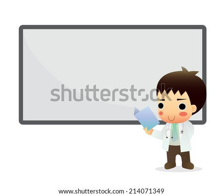 Doctor Holding Blank Board - Medical Cartoon Characters - stock vector