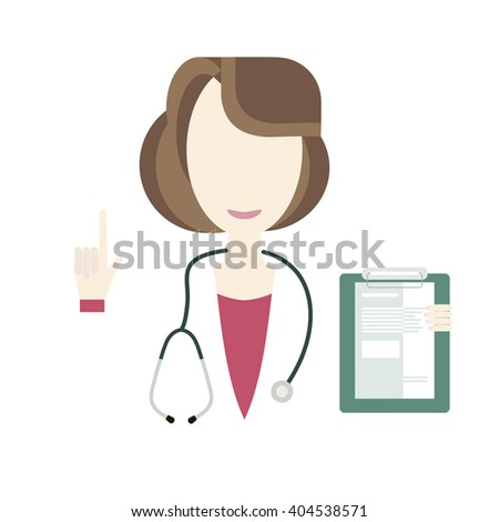 Doctor holding medical notepad. Illustration of woman doctor character health care at hospital. Profession icon doctor design flat style. Medical hospital, stethoscope and health. Vector flat style - stock vector