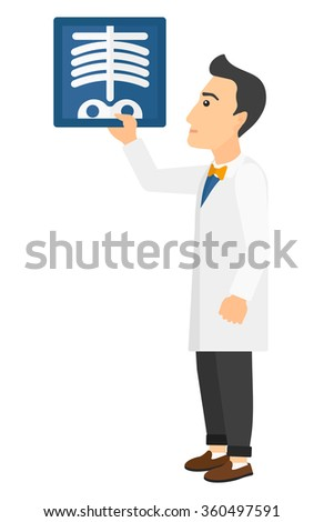 Doctor holding radiograph. - stock vector