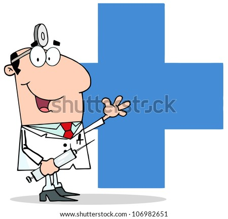 Doctor Holding Syringe And Waving For Greetings Over A Blue Cross .Vector Illustration - stock vector