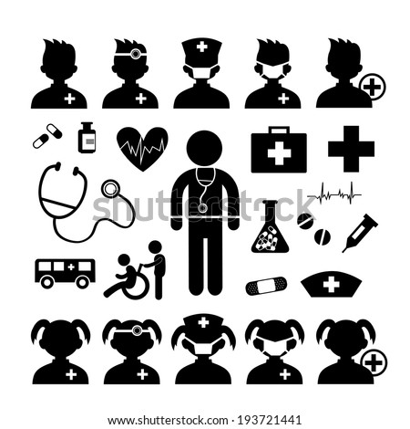 Doctor icon and hospital on white background  - stock vector