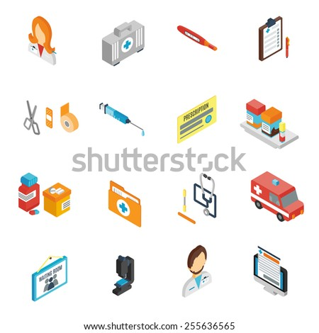 Doctor icon isometric set with pharmacy medical staff physician symbols isolated vector illustration - stock vector