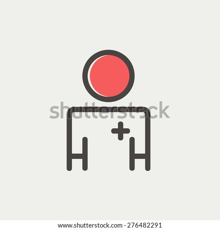 Doctor icon thin line for web and mobile, modern minimalistic flat design. Vector icon with dark grey outline and offset colour on light grey background. - stock vector