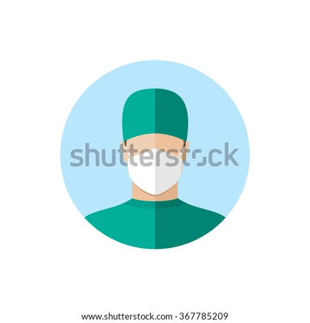 Doctor in mask. Flat style design icon - stock vector
