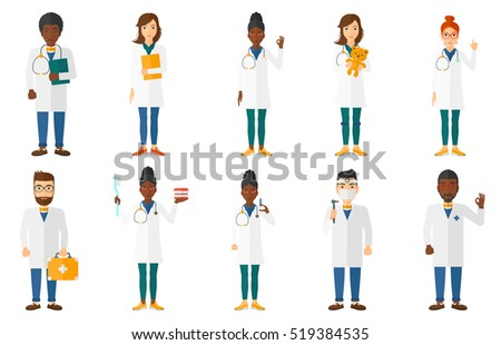 Doctor in medical gown showing ok sign. Happy doctor gesturing ok sign. Doctor with ok sign gesture. Doctor holding first aid kit. Set of vector flat design illustrations isolated on white background.