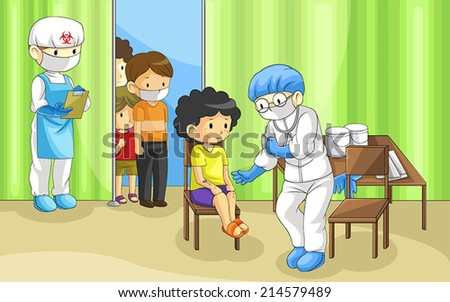 Doctor is examining group of people with ebola disease. It's a quarantine zone to prevent epidemic, create by vector  - stock vector