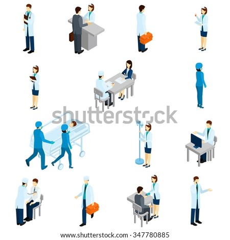 Doctor isometric set with 3d clinic people and patients isolated vector illustration - stock vector