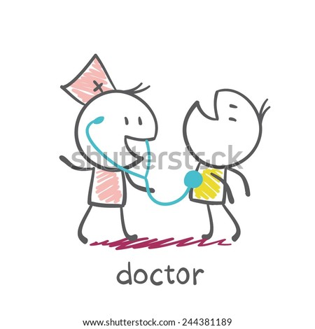 doctor listens to the patient stethoscope illustration