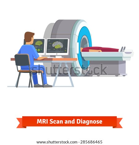Doctor looking at results of patient brain scan on the monitor screens in front of MRI machine with man lying down. Flat vector illustration. - stock vector