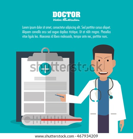 doctor man male avatar medical health care icon. Colorfull and flat illustration