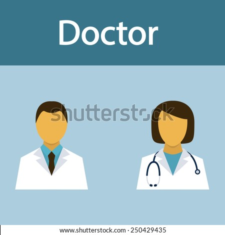 Doctor, medical staff, occupation, people, flat icon, vector. - stock vector