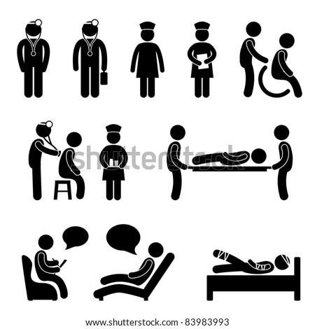 Doctor Nurse Hospital Medical Psychiatrist Patient Sick Icon Sign Symbol Pictogram - stock vector