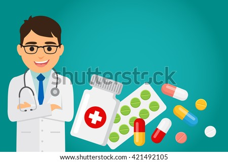 Doctor occupation character health care with medications. Vector illustration. - stock vector
