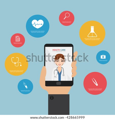 Doctor on mobile application. Medical service health care infographic. - stock vector
