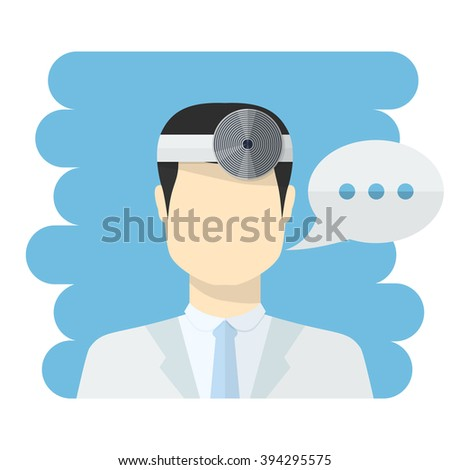 Doctor ophthalmologist vector.Vector medical worker icon male Doctor avatars in uniform ,in flat style with a color speech bubbles conceptual health care.Ophthalmologist Dr.Doctor icon flat style - stock vector