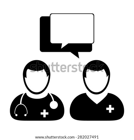 Doctor Patient Talking Icon  - stock vector