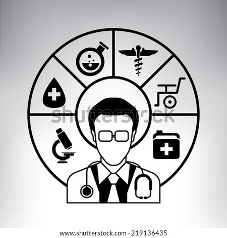 doctor, physician and medial diagram, info graphic - stock vector