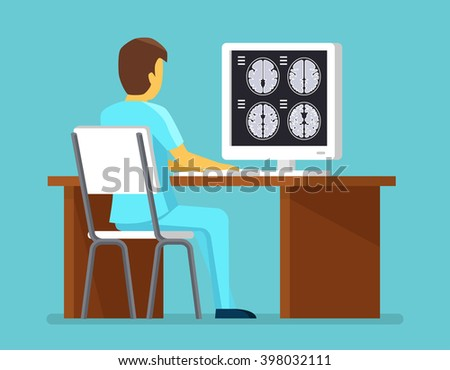 Doctor professional researches results of MRI scan. Health and care concept. Brain scan. Vector illustration - stock vector
