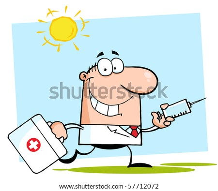 Doctor Running With A Suitcase - stock vector