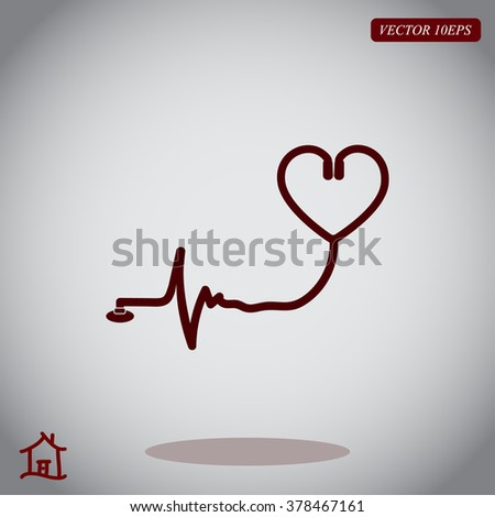 Doctor's stethoscope snd heart icon
