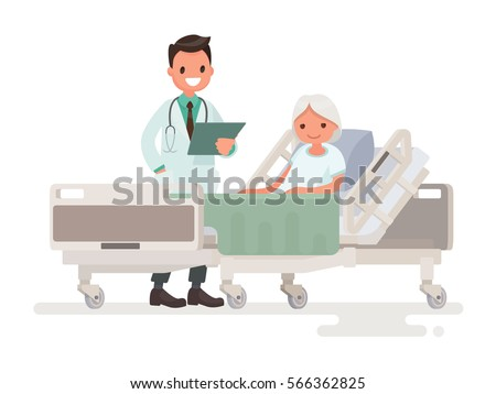 Doctor's visit to the ward of patient  elderly woman lying in a medical bed. Vector illustration in a flat style